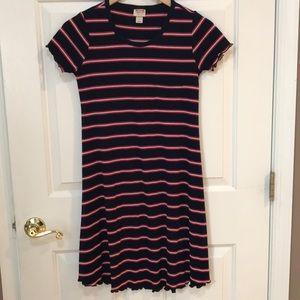 Merona Striped Navy Red Ribbed Dress Small EUC